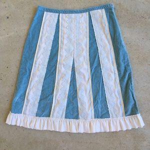 """2004 Anthropologie BLUE """"Velvet Inset  Skirt"""" 8"""